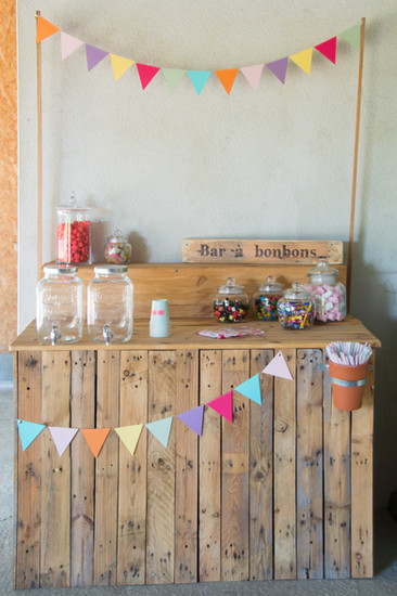 bar à bonbons en bois