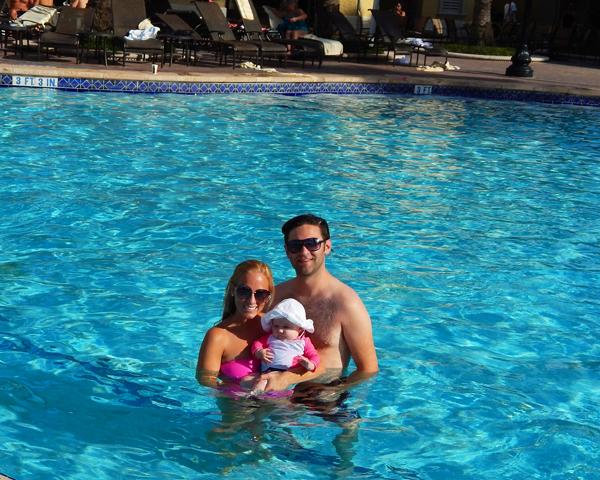 Swimming at the resort!