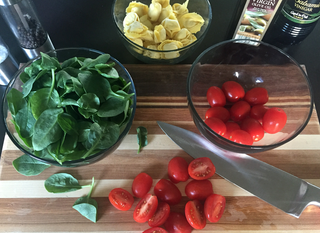 Tortelloni With Wilted Spinach & Tomatoes