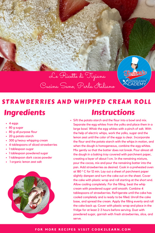 Rotolo ripieno con panna e fragole - Strawberries and whipped cream Roll