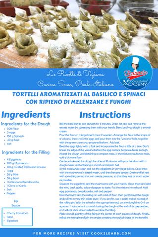 Tortelli aromatizzati al basilico e spinaci con ripieno di melenzane e funghi - Homemade Tortelli fl