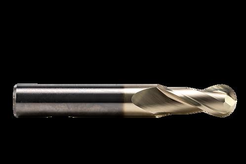 "ø 7/16"" x 1"" LOC x 3"" OAL, 2FL, High Performance Carbide Ball Mill, Coated"