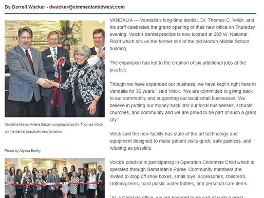 Vandalia Drummer News -  Volck formally opens new office