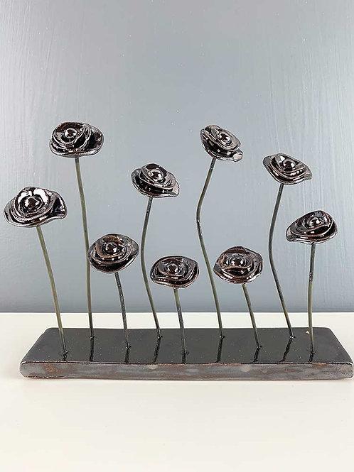 Sculpture Pivoines Noir Or