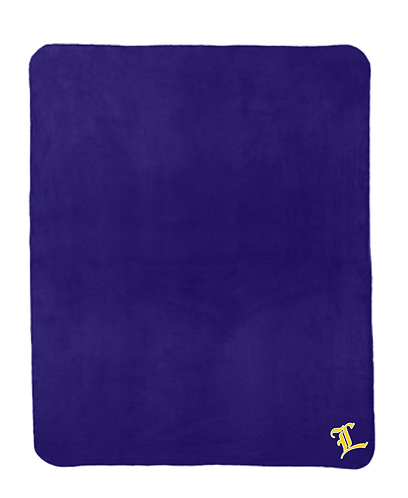 Purple Fleece Blanket with Strap - TLB - w embroidered L