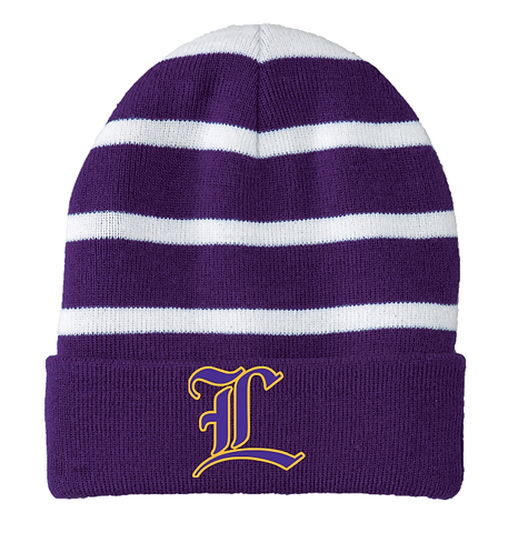 "Lutcher ""L"" Striped Beanie"