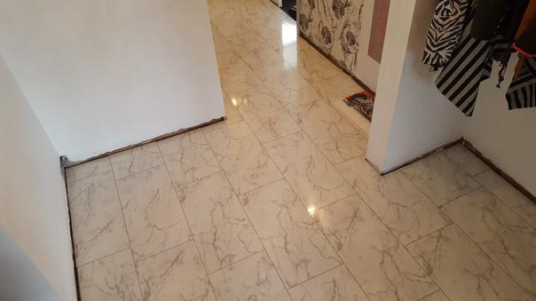 White marble effect laminate tiles