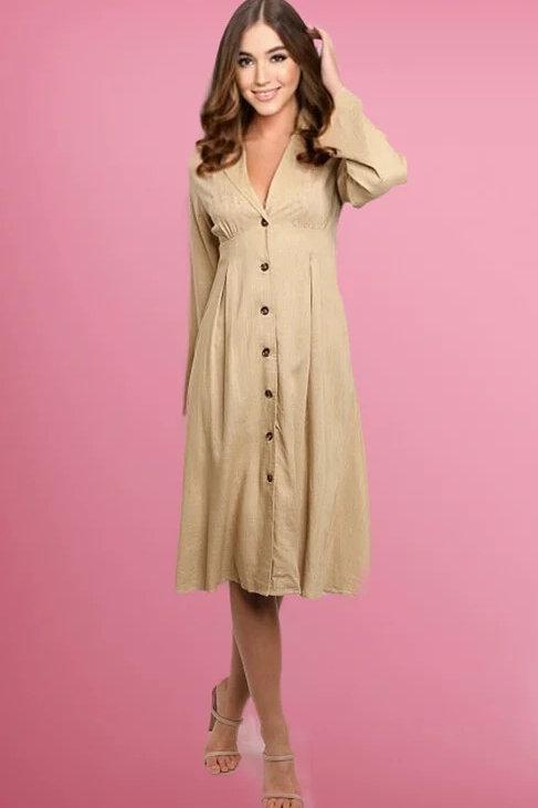 Vestido midi manga larga con botones