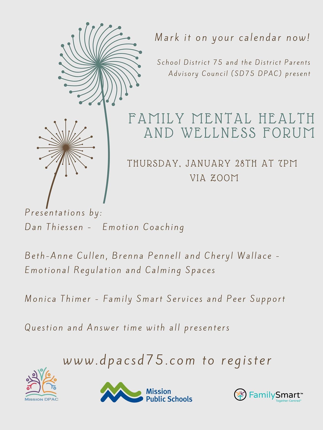 Family mental Health and wellness semina