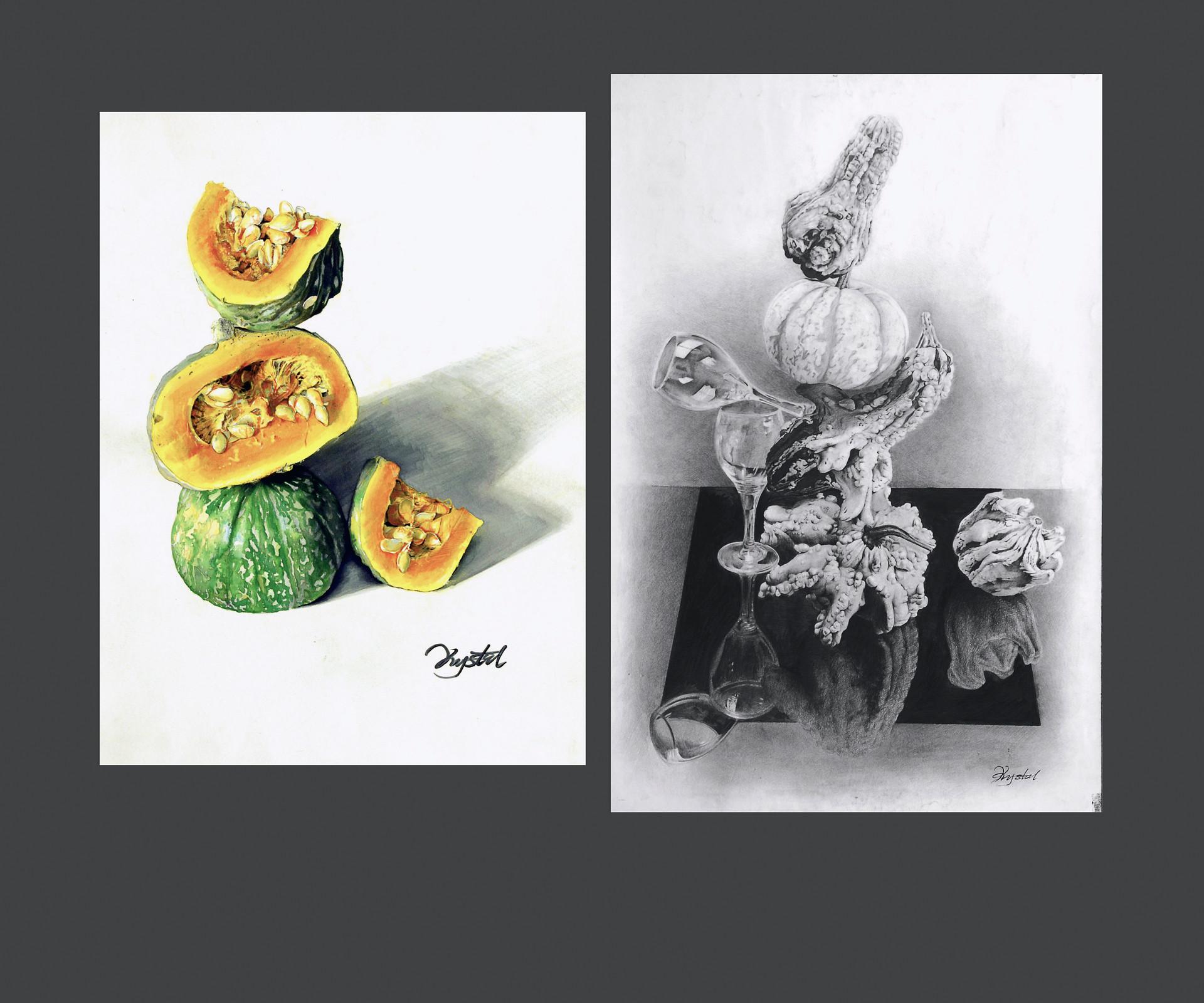 "Left:  18 x 24 "" Marker 2015  Right: 24 x 36 "" Pen, Pencil 2015"