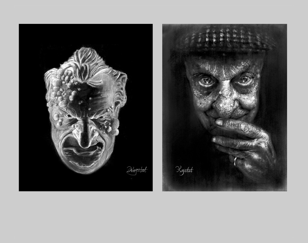 """Left: 24 x 36 """" Pastel 2014  Right: 24 x 36 """" Charcoal 2014"""