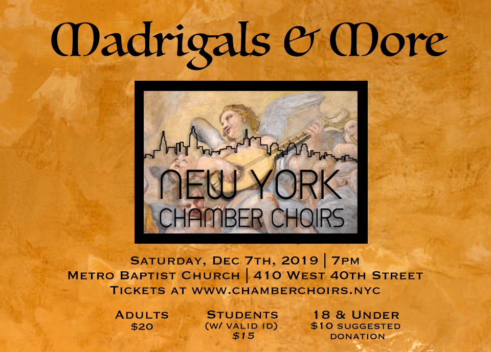 Madrigals and More concert poster