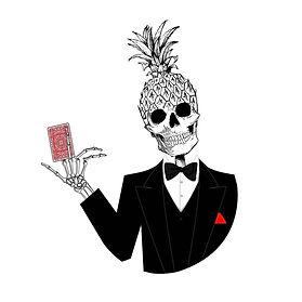 Graphics, illustration, digital, vector, custom, freelancer, instagram, art, trending,adobe, sketch, illustrator, photoshop, pineapple, cards, head, skull, skeleton, suit, red, tuxedo, smile, funky, hair, death, scare, monsters