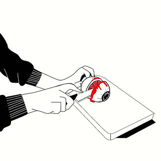 Graphics, illustration, digital, vector, custom, freelancer, instagram, art, trending,adobe, sketch, illustrator, photoshop, design, eyes, cut, blood, knife, gore, news, covid, politics, 2020, metaphor, satire, red, cut, hands, cutting board, vegetable
