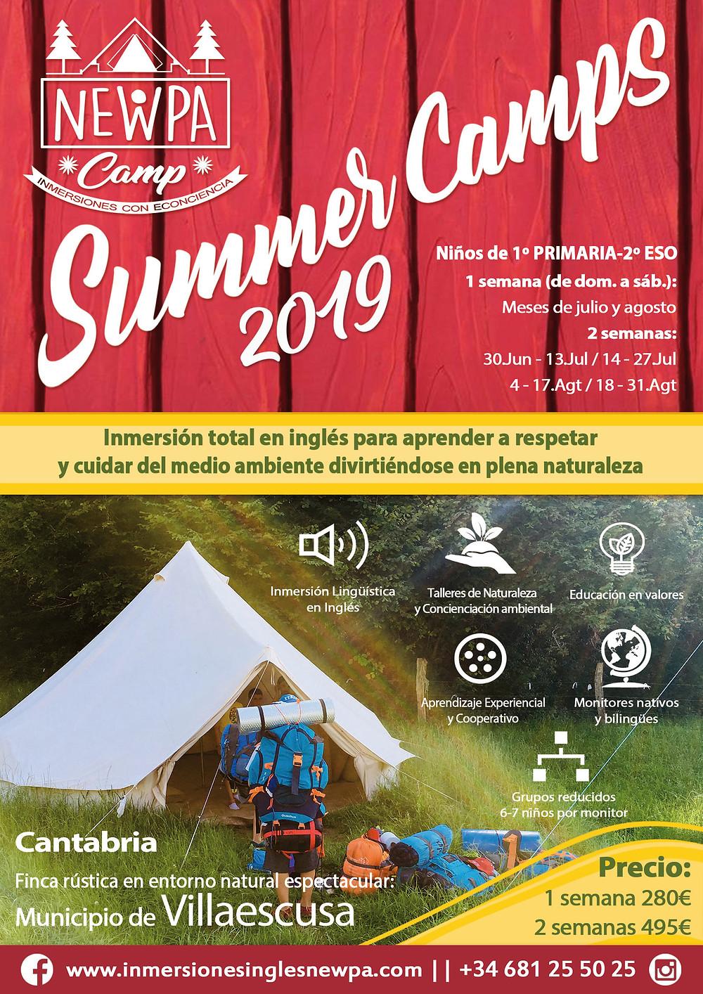 Campamentos de verano en inglés NewPa Summer Camps 2018