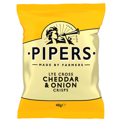 Pipers Chips Cheddar Oignon 40 gr