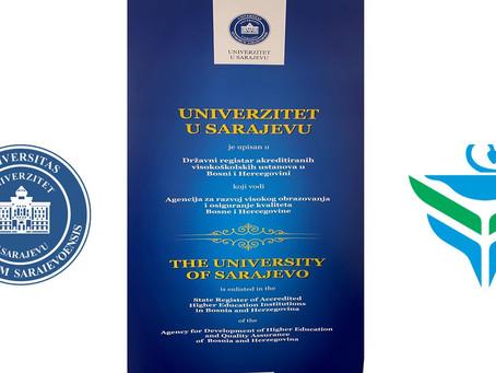 Univerzitet u Sarajevu je upisan u Državni registar akreditiranih visokoškolskih ustanova u BiH