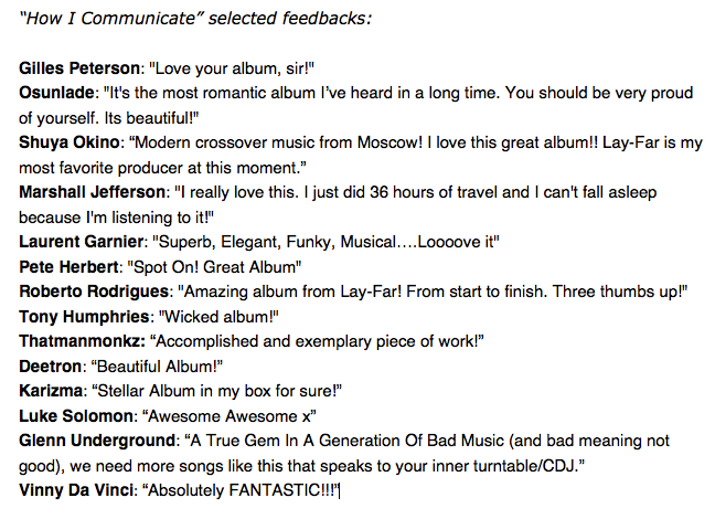 Selected feedback for How I Communicate by Lay-Far