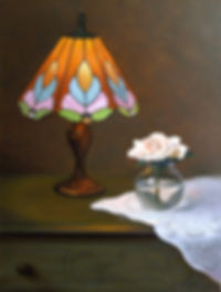 Rose in Lamplight  oil  24x18  Available $900  .jpg