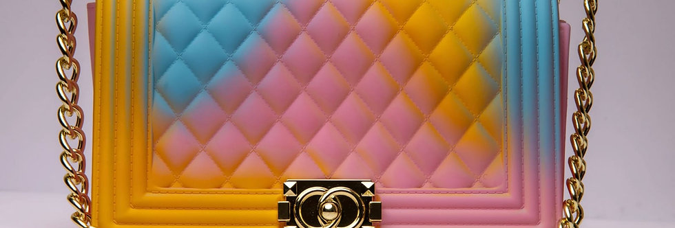Pink, blue and Gold Handbag with Gold Chain