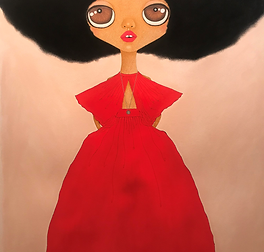 Charles Red dress black afro.png