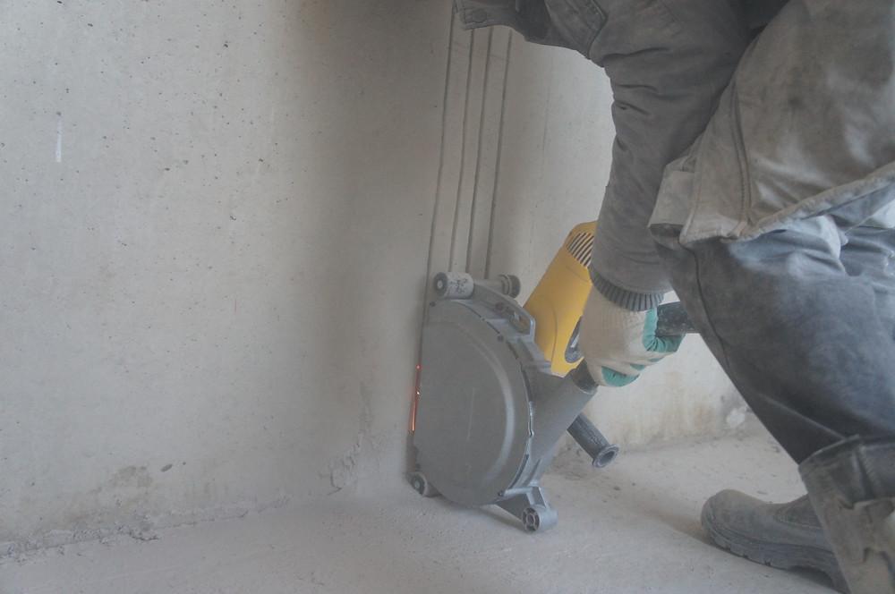 штробление бетона, штроборез