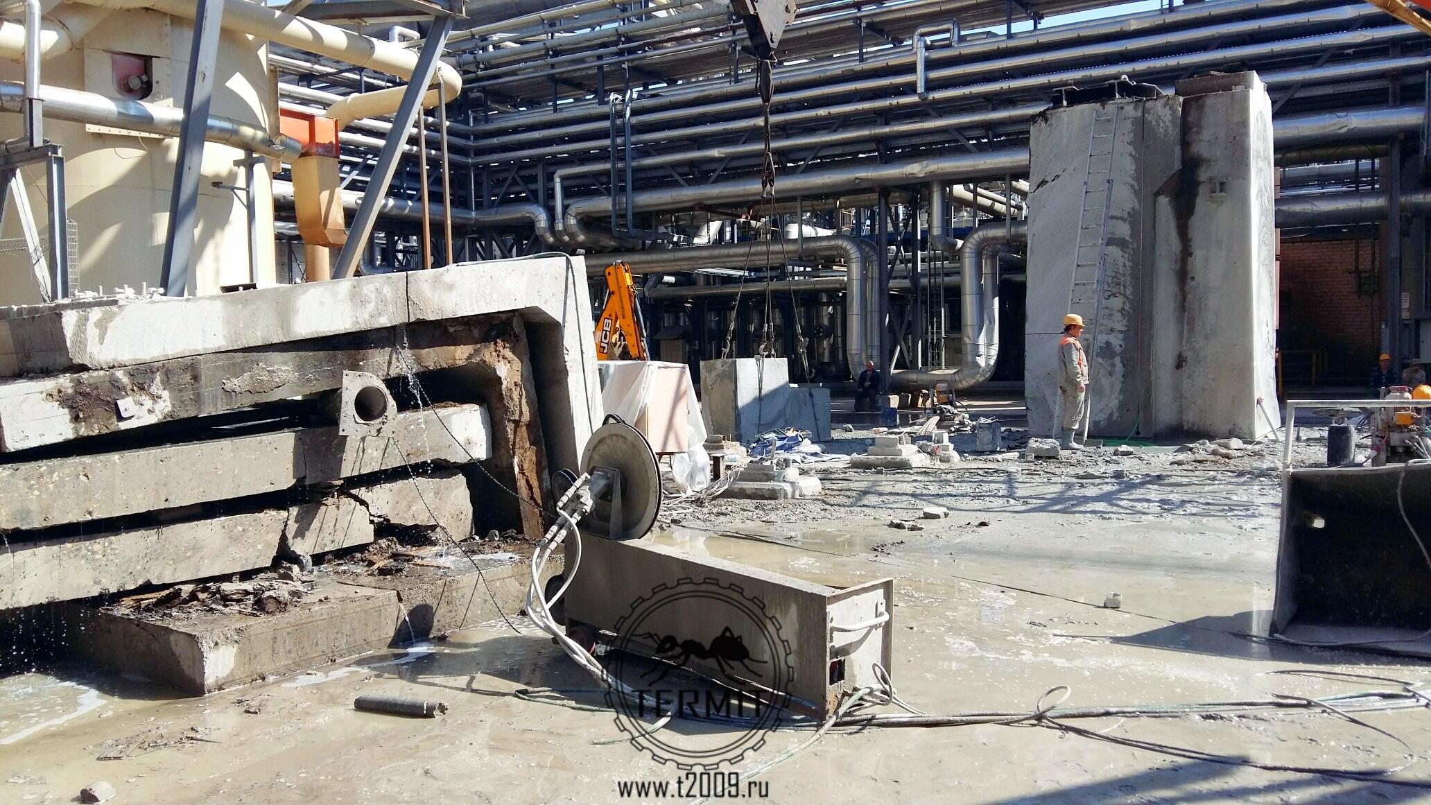канатная резка железобетонных конструкций на промплощадке Кроностар, г.Шарья