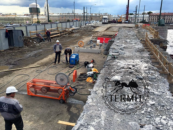 Канатна резка бетона. Тучков мост