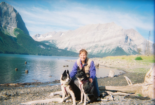Me, Mara & her Grandmother Eilu, working bears in Kananaskis Country, Canada