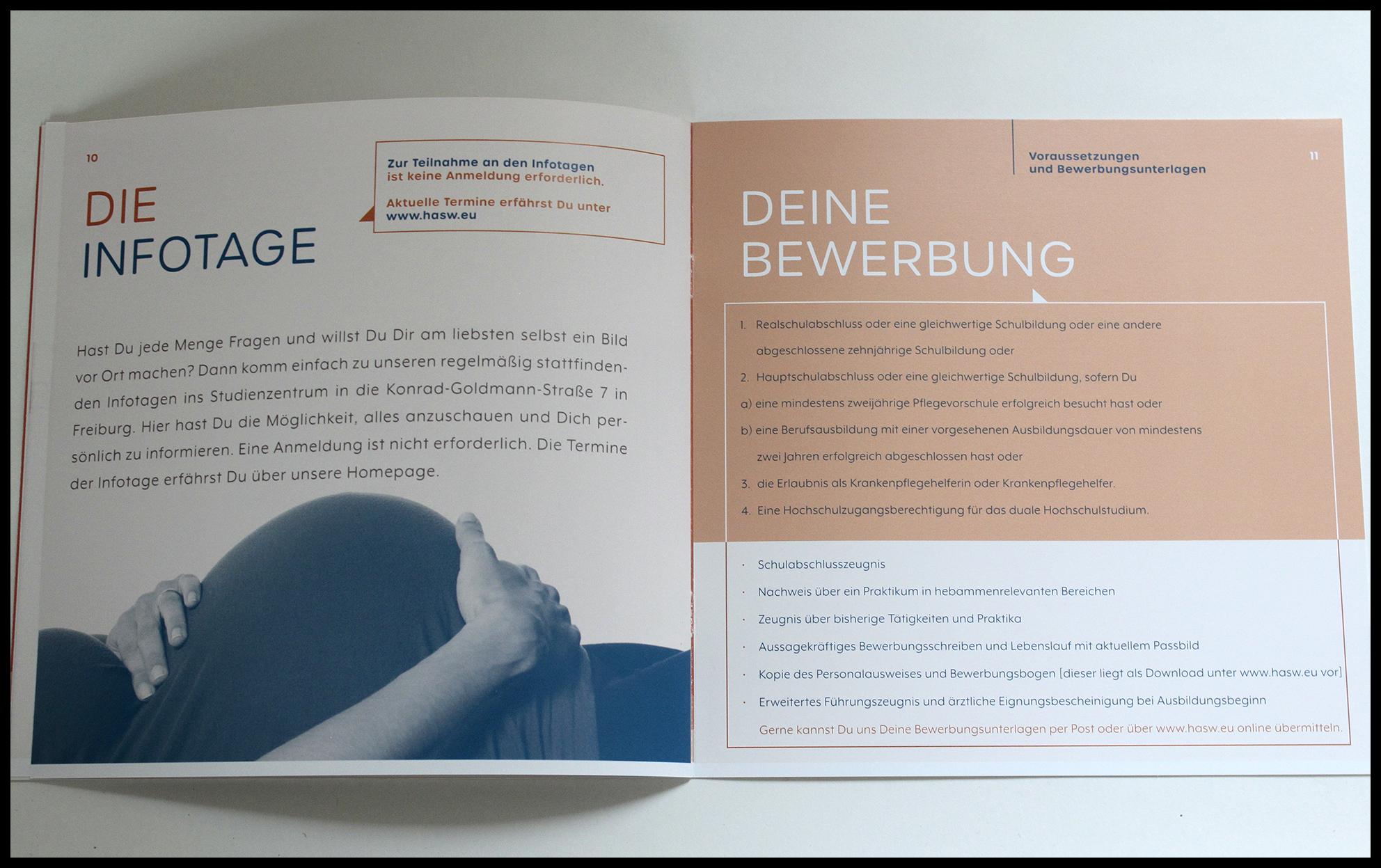 Innenseite der Broschüre Ausbildung Hebamme