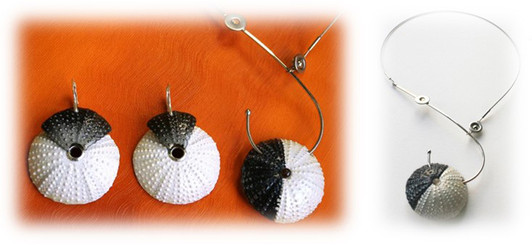 "earrings ""Jet lag"" & necklace ""Yin and Yang"""