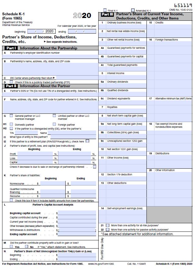 Standard Schedule K-1 (Form 1065)
