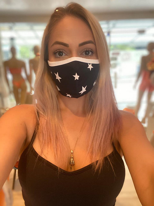 Máscara - Estrela Branca Fundo Preto Elástico Branco