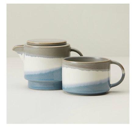 Blue Grey Dip Ceramic Tea-for-One w\Choice Teas