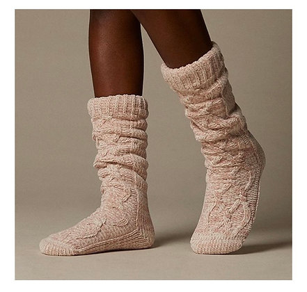Chenille Twisted Cable Reading Socks | Rose Pink