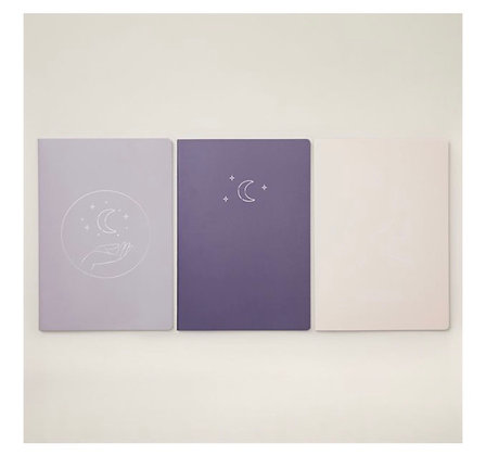 Moon & Stars   Set of 3 Large Notebooks