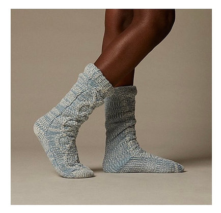 Chenille Twisted Cable Reading Socks | Teal