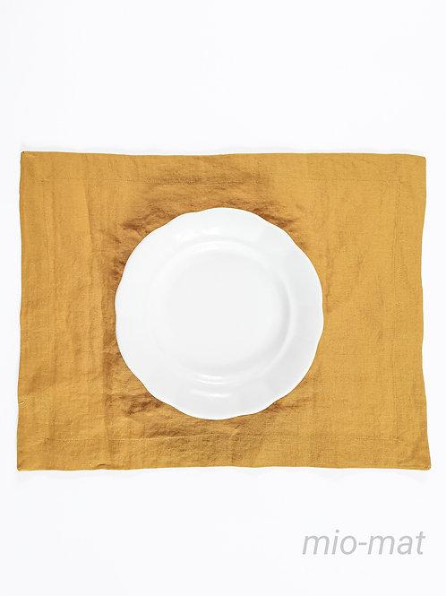 Linen placemat - mustard (set of 2,4,6,8)