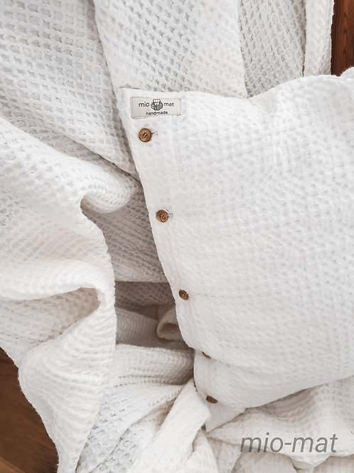Linen waffle pillow cover - white