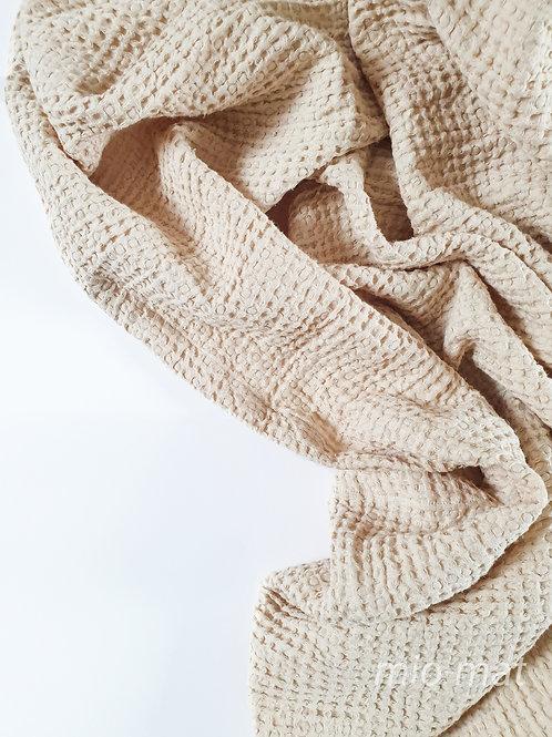 Linen waffle throw blanket - nude
