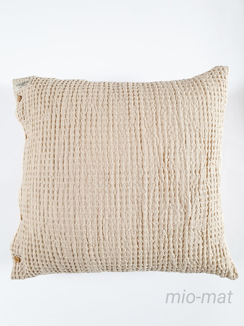 Linen waffle pillow cover - nude