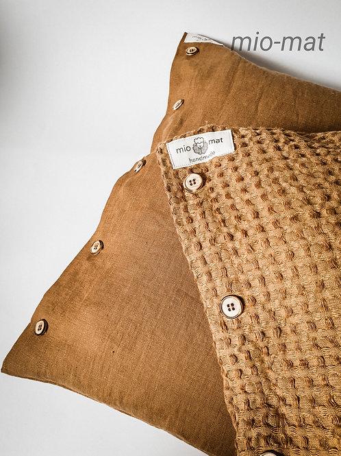 Linen waffle pillow cover - terracotta