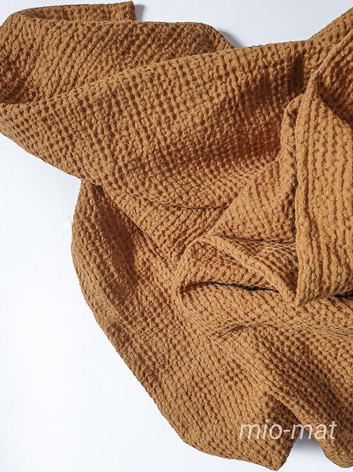 Linen waffle throw blanket - terracotta
