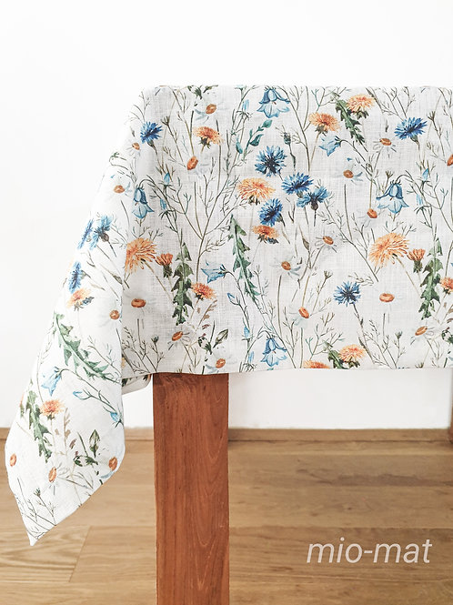 Linen tablecloth -blue/yellow flowers