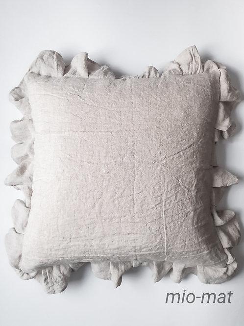 Linen ruffle pillow cover - beige