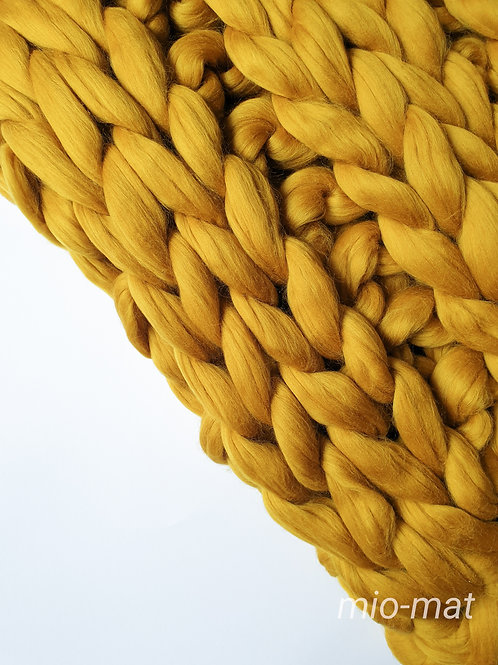 Merino blanket - mustard yellow