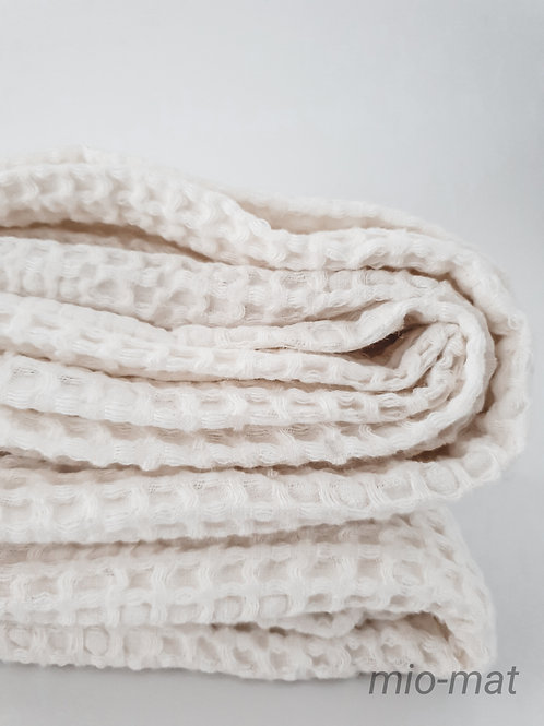 Linen waffle throw blanket - white