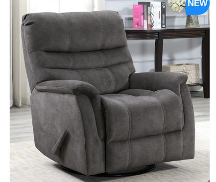 Grey Fabric Swivel Glider Recliner Chair