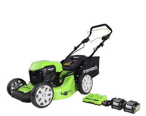 Greenworks 48V Cordless 46cm Self Propelled Lawn Mower + 2 x 24V Batteries