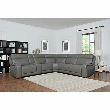Kuka Paisley Leather Power Reclining Sectional Sofa with Power Headrests